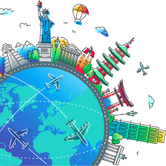 globe graphic with landmarks and planes
