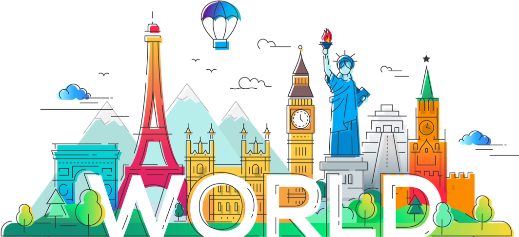 graphic featuring world landmarks like the Arc de Triumph, Big Ben and Parliament, the Eiffel Tower, and the Statue of Liberty